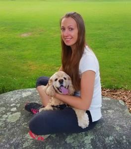 Oksana and her beloved student dog, Tommy.