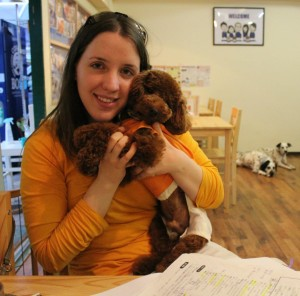 Ashley with Senbei, her student dog Jinbei's father, in Japan.