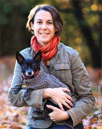 Kate and her stylish Chihuahua mix, Batman