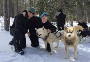 Pam dog sledding in Colorado!