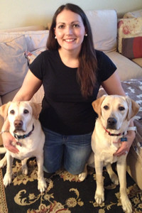 Kristy with her gorgeous Yellow Labs