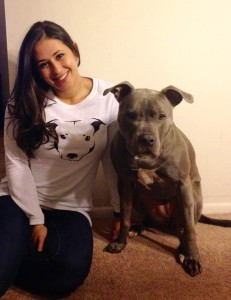 Erika and her American Staffordshire Terrier, Jade.